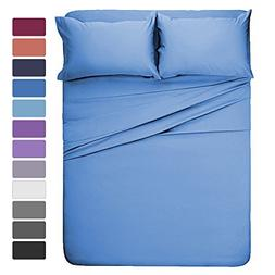 HOMEIDEAS 4 Pieces Bed Sheet Set Full Sheet Sky Blue Super S