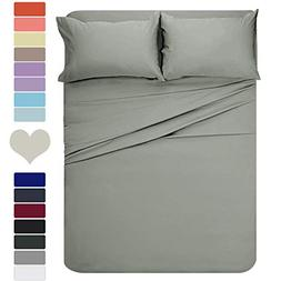 HOMEIDEAS 4 Pieces Bed Sheet Set Full Sheet Gray Super Soft
