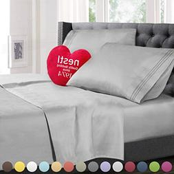 Twin XL Size Bed Sheets Set Silver, Highest Quality Bedding