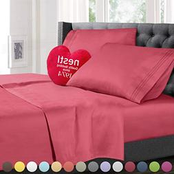 Twin Size Bed Sheets Set Coral Pink, Highest Quality Bedding
