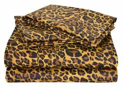 Bed Sheet Set All USA Size Leopard Print Egyptian Cotton 800