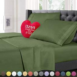 Queen Size Bed Sheets Set Calla Green, Highest Quality Beddi