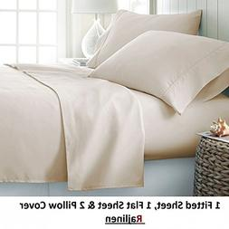 #1 Bed Sheet Set Queen Size Ivory Solid Soft Quality Genuine