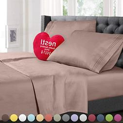 King Size Bed Sheets Set Taupe, Highest Quality Bedding Shee