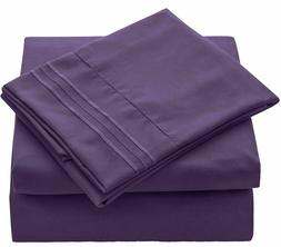 HC COLLECTION Bed Sheets Set Hotel Luxury Platinum Purple Eg