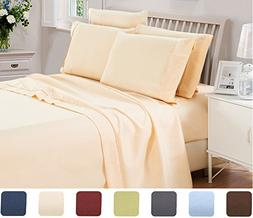 6 Piece Lux Decor Bed Sheets Set King Size, HOTEL LUXURY Bru