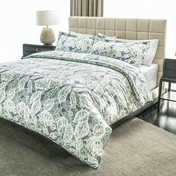 Ashler Bed Sheets Sets - Duvet Green&Grey 3 Piece Queen Size