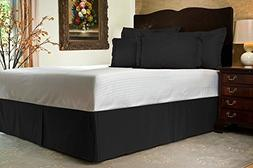 """Bedskirt 700 Tc Black Striped Twin Extra-Long Size With 21"""""""