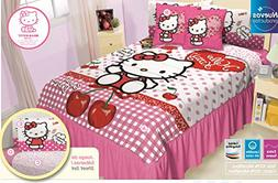Bedspread Hello Kitty Cherry Red Comforter Blanket Twin 2PC