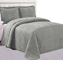 Bedspread Set  - 3 Piece Luxurious Soft Brushed Microfiber C