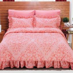 Beverly Coral Bedspread Sheet Set New Girls Home Coverlets B