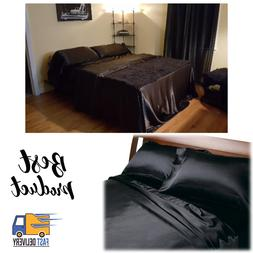 BLACK - SATIN SHEETS QUEEN Size Soft Silk Feel Bedding 4pc S