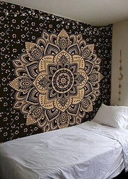 "Black Golden Ombre Tapestry by Labhanshi"" Ombre Bedding , Ma"