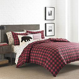 2 Piece Black Red Plaid Comforter Twin Set, Cabin Themed Bed