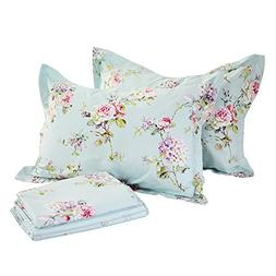 FADFAY 4-Piece Blue Floral Print Bed Sheet Set Cotton Bed Sh