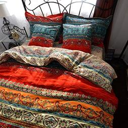 Auvoau Boho Style Duvet Cover Set, Colorful Stripe Sheet Set