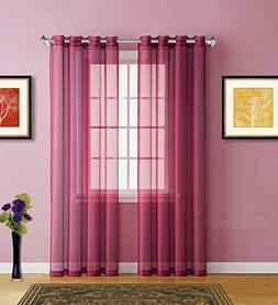 Warm Home Designs Burgundy Red Sheer Window Curtains with Gr