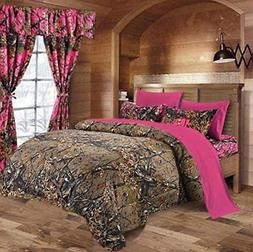 7 PC CAMO COMFORTER AND TEAL SHEET SET KING BED IN BAG HUNTE