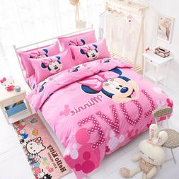 Cartoon Minnie Mickey Mouse Bed Duvet Cover Set Kids Bedding