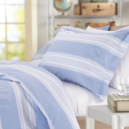 Pinzon Chambray Stripe Duvet Set - King, French Blue