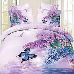 Charming Butterfly and Purple Flower Print 4-Piece 100% Cott