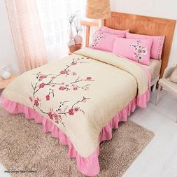 CHERRY FLOWERS Bedspread EMBROIDERED Sheet Set KING 7 PIECES