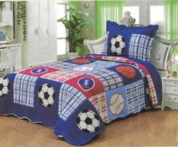 Happy Home ® 2pcs Children Twin Size Double Sides Bedspread