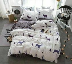 Christmas Elk Bedroom Accessories Bed Sheets Set Geometric P