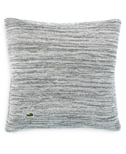 """Lacoste Home Chunky Space-Dyed 18"""" Square Light Gray Decorat"""