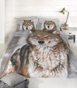 CLASSIC TWIN WINTER WOLF BROWN COTTON BLEND COMFORTER COVER