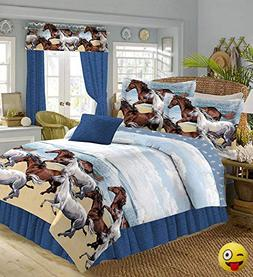 COASTAL BEACH PONY HORSE WESTERN 8 Pieces FULL SIZE COMFORTE