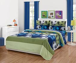 Fancy Linen Collection 3pc Soccer Blue green White Black Twi