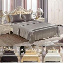 Comfortablely Satin Silk Fitted Sheet Bed Flat Sheet Set Bed