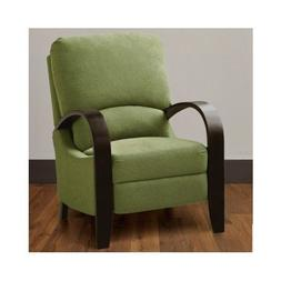 Contemporary Green Bent Arm Recliner with Wood Arms Is Moder