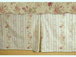 Cottage Romantic Tailored Bed Skirt 15 inches Drop Floral Ro