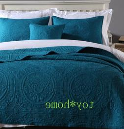 Cotton 3Pcs Bedding Sets Embroidered Bedspread Quilted Bed C