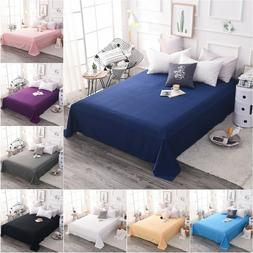 Cotton Bed Flat Sheet Only Premium Top Sheets Pillowcase Sol