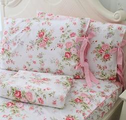 FADFAY Cotton Bed Sheet Set Rose Floral Bed Sheets 4-Piece Q