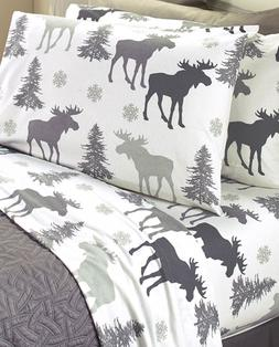 Cotton Flannel Sheets Full Queen or King Size Sets Moose Gra