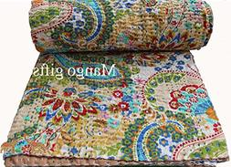 Mango Gifts Pure Cotton Kantha Style Quilt Bed Spread Indian