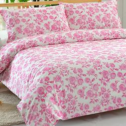 100% Cotton Pink Rose Floral Pattern Duvet Cover Set Full/qu