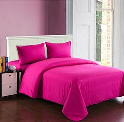 Tache 4 Piece Cotton Solid Hot Pink Comforter Set with Zippe
