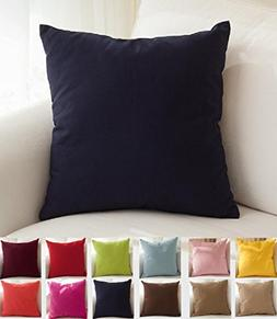 """TangDepot Cotton Solid Throw Pillow Covers, 18"""" x 18"""" , Dark"""