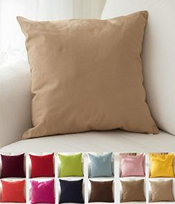 "TangDepot Cotton Solid Throw Pillow Covers, 18"" x 18"" , Khak"