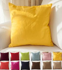 "TangDepot Cotton Solid Throw Pillow Covers, 18"" x 18"" , Yell"
