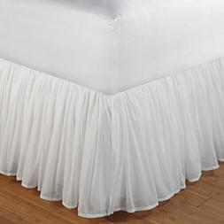 Greenland Home Fashions Cotton Voile Bed Skirt - 18 in. Ruff