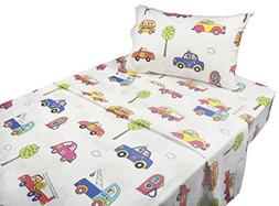 J-pinno Cute Cartoon Car School Bus Printed Twin Sheet Set f
