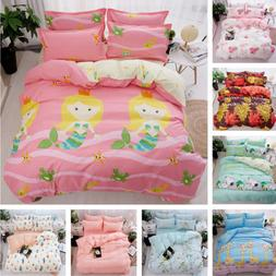 Cute Kids Printed Soft 4 Pcs Full Queen King Pillow Case Bed