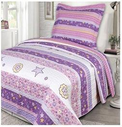 3ee54e3574e5 Twin Size Elegant Home Cute Beautiful Girls Mutlicolor Pink White Blue  Purple Floral Owl Hearts Design 2 Piece Coverlet Bedspread Quilt Kids ...