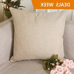 HOME BRILLIANT Burlap Decorative Throw Pillow Euro Sham Pill